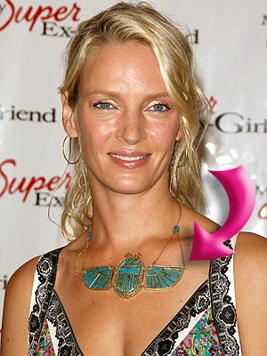iridescent summer uma thurman green necklace